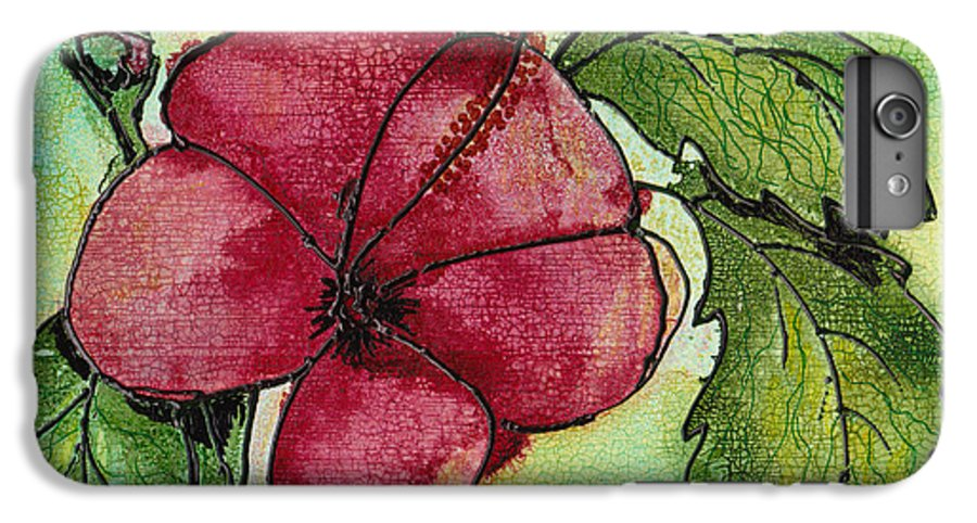 Flower IPhone 6s Plus Case featuring the painting One Pink Hibiscus by Susan Kubes
