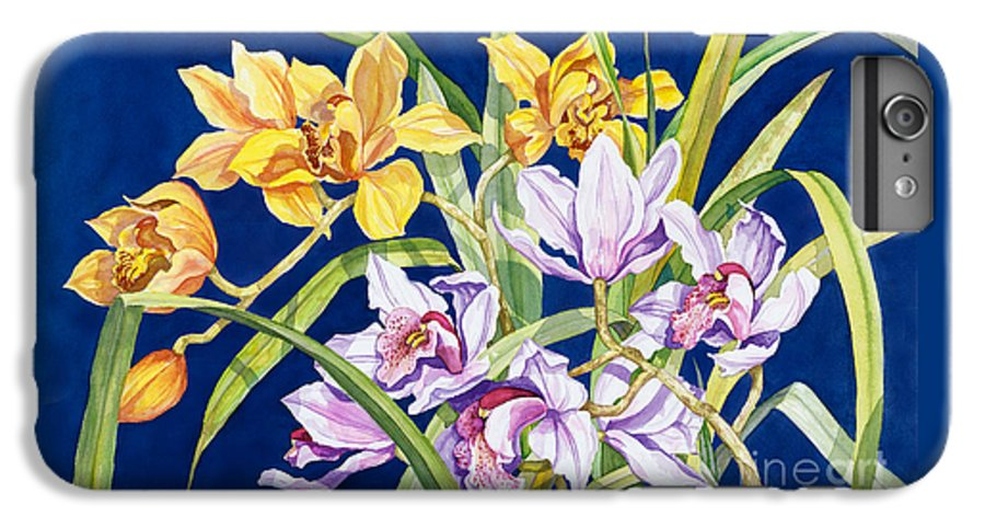 Orchids IPhone 6s Plus Case featuring the painting Orchids In Blue by Lucy Arnold