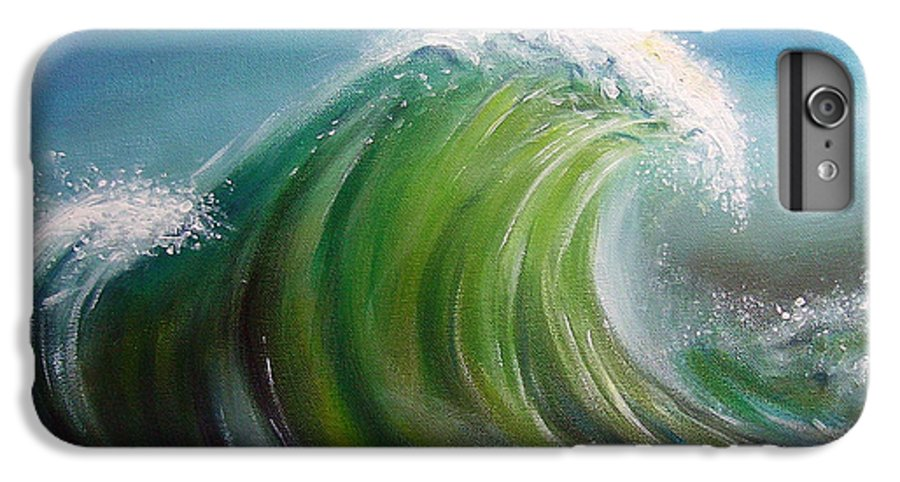 Wave Blue Green White IPhone 6s Plus Case featuring the painting Overpowered by Arie Van der Wijst