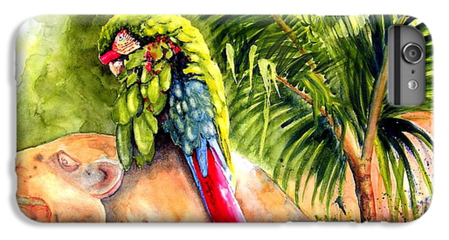Parrot IPhone 6s Plus Case featuring the painting Pajaro by Karen Stark