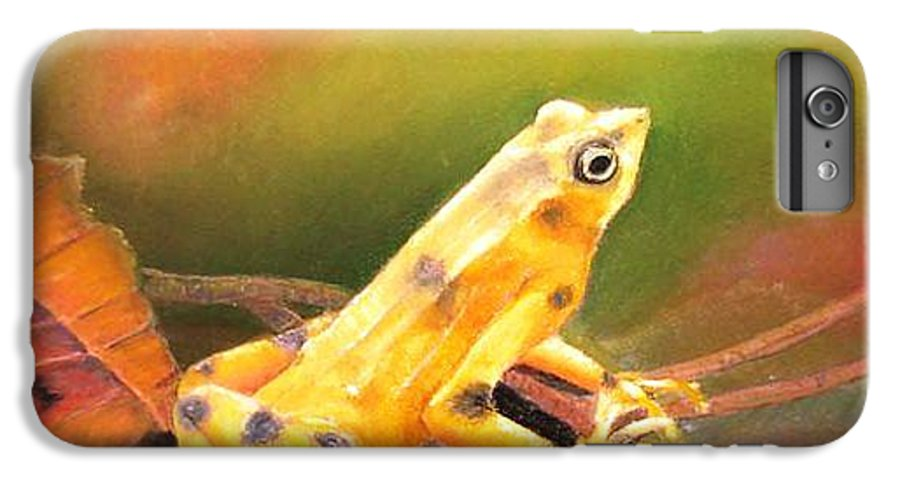 Endangered IPhone 6s Plus Case featuring the painting Panamenian Golden Frog by Ceci Watson