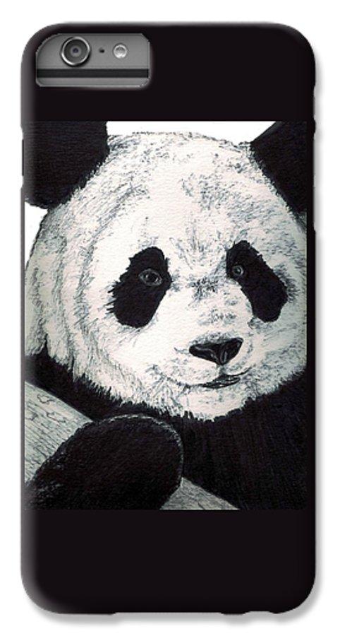 Panda IPhone 6s Plus Case featuring the painting Panda by Debra Sandstrom