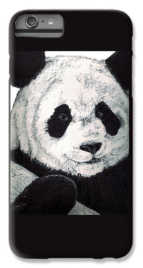 Panda IPhone 6s Plus Case featuring the painting Panda by Debra Sandstrom