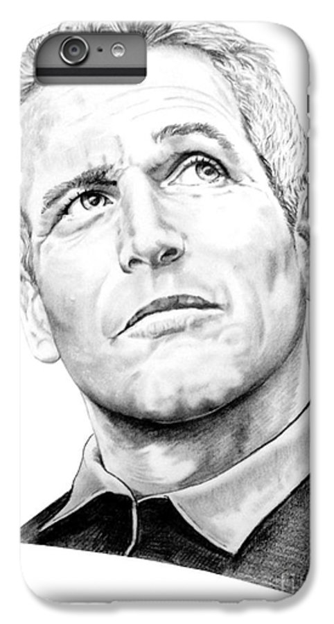 Paul Newman IPhone 6s Plus Case featuring the drawing Paul Newman by Murphy Elliott