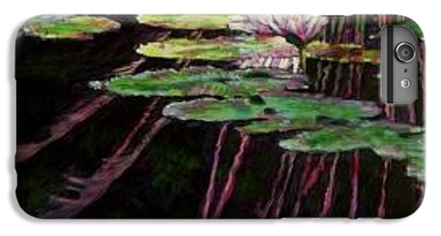 Quiet Pond With Water Lily And Reflections. Missouri Botanical Garden IPhone 6s Plus Case featuring the painting Peaceful Reflections by John Lautermilch