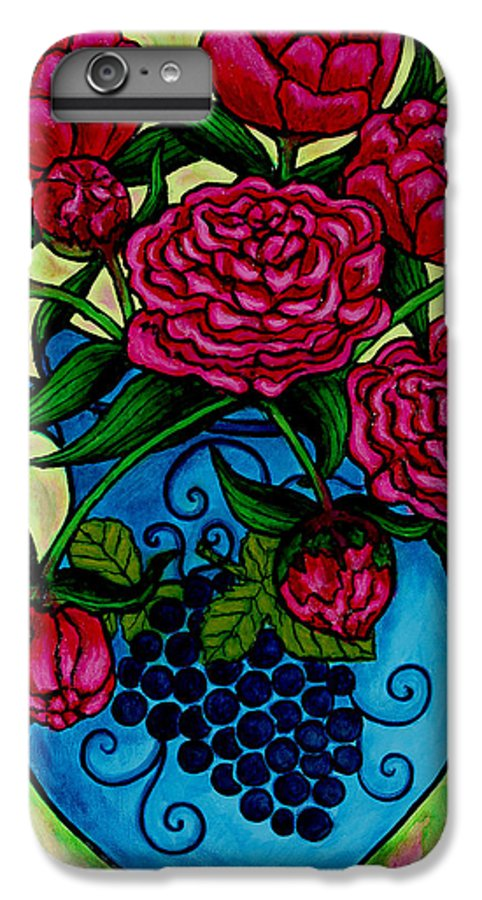 Peonies IPhone 6s Plus Case featuring the painting Peony Party by Lisa Lorenz