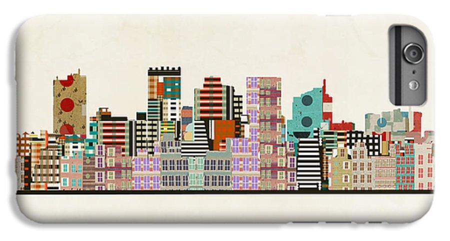 Phoenix Arizona IPhone 6s Plus Case featuring the painting Phoenix Arizona Skyline by Bri Buckley