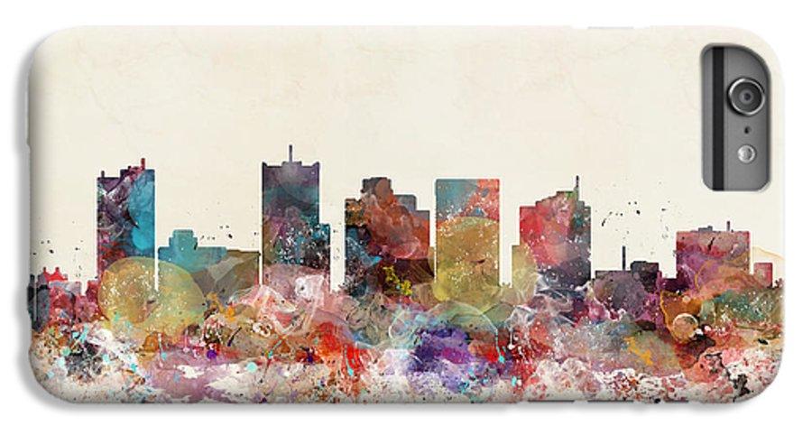 Phoenix IPhone 6s Plus Case featuring the painting Phoenix Arizona Skyline by Bri Buckley