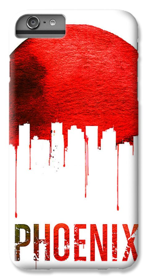 Phoenix IPhone 6s Plus Case featuring the painting Phoenix Skyline Red by Naxart Studio