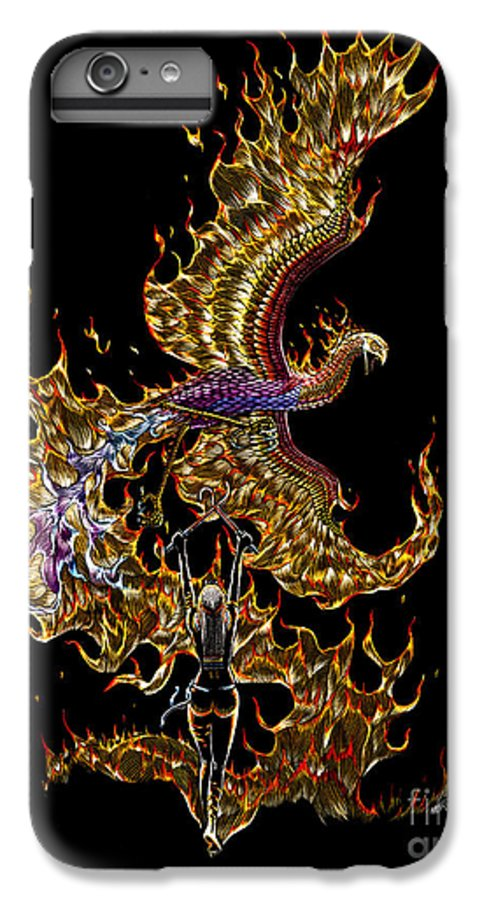 Phoenix IPhone 6s Plus Case featuring the drawing Phoenix by Stanley Morrison