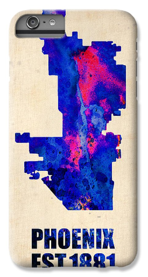Phoenix IPhone 6s Plus Case featuring the painting Phoenix Watercolor Map by Naxart Studio
