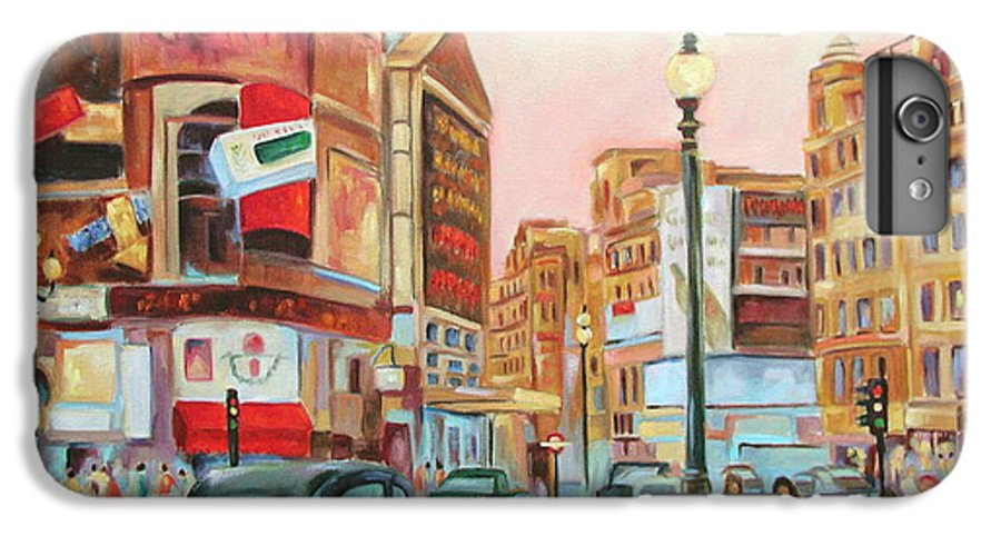 Cityscape IPhone 6s Plus Case featuring the painting Picadilly by Ginger Concepcion