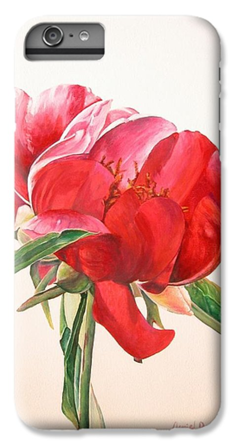Floral Painting IPhone 6s Plus Case featuring the painting Pivoine 2 by Muriel Dolemieux
