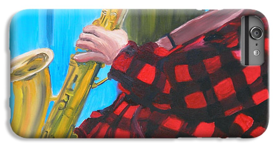 Sax Player IPhone 6s Plus Case featuring the painting Play It Mr Sax Man by Michael Lee