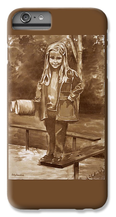 Little Girl On Bench In Park IPhone 6s Plus Case featuring the painting Playground 2 by Judy Swerlick