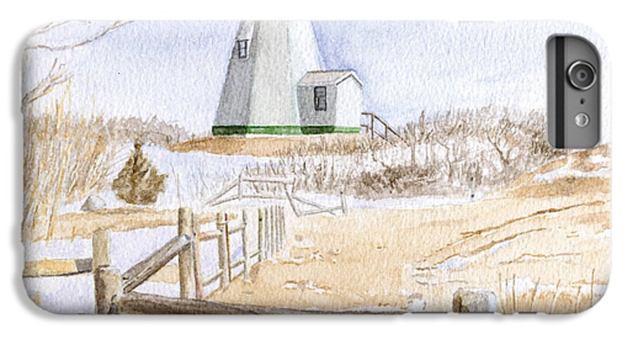 Lighthosue IPhone 6s Plus Case featuring the painting Plymouth Light In Winter by Dominic White