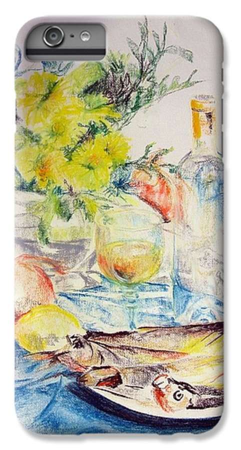 Still Life IPhone 6s Plus Case featuring the drawing Poissons by Muriel Dolemieux
