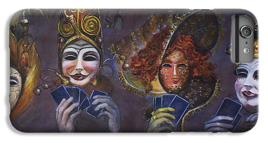 Masks IPhone 6s Plus Case featuring the painting Poker Face by Nik Helbig