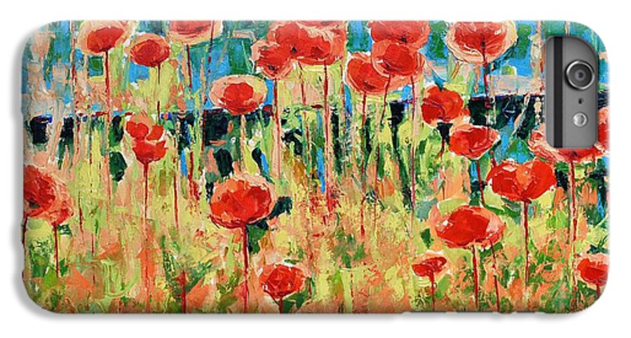 Poppies IPhone 6s Plus Case featuring the painting Poppies And Traverses 2 by Iliyan Bozhanov
