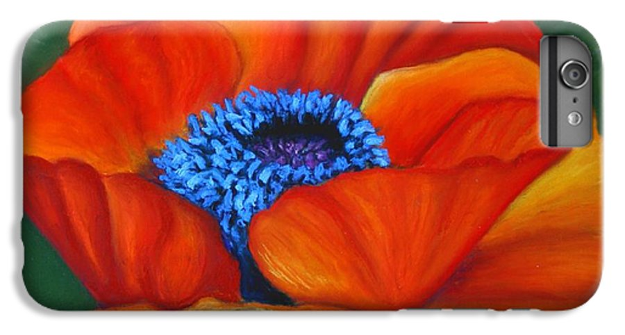 Red Flower IPhone 6s Plus Case featuring the painting Poppy Pleasure by Minaz Jantz