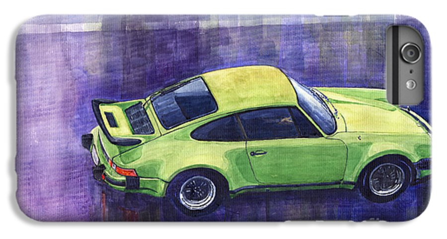 Watercolour IPhone 6s Plus Case featuring the painting Porsche 911 Turbo Green by Yuriy Shevchuk