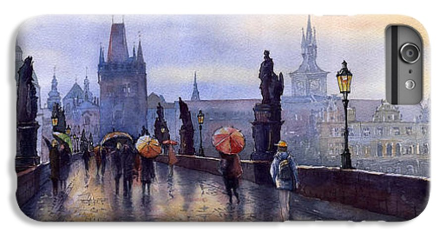 Cityscape IPhone 6s Plus Case featuring the painting Prague Charles Bridge by Yuriy Shevchuk