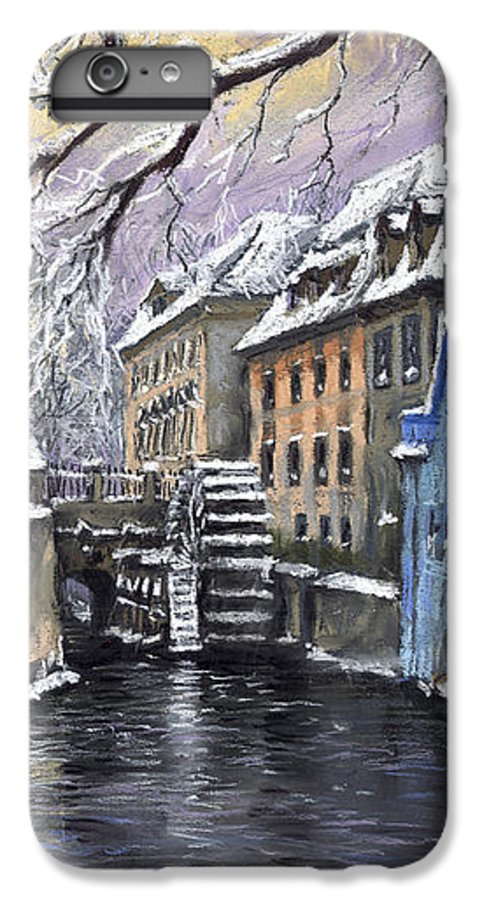 Pastel IPhone 6s Plus Case featuring the painting Prague Chertovka Winter by Yuriy Shevchuk