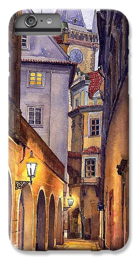 Cityscape IPhone 6s Plus Case featuring the painting Prague Old Street by Yuriy Shevchuk