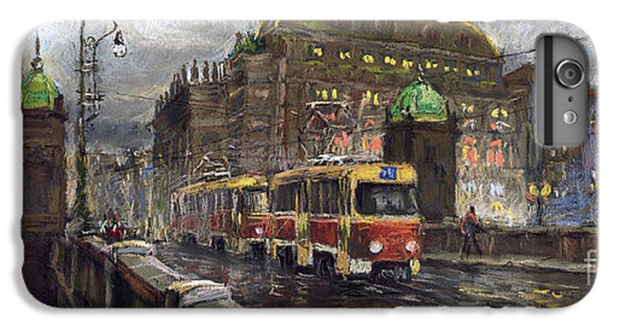 Prague IPhone 6s Plus Case featuring the painting Prague Tram Legii Bridge National Theatre by Yuriy Shevchuk