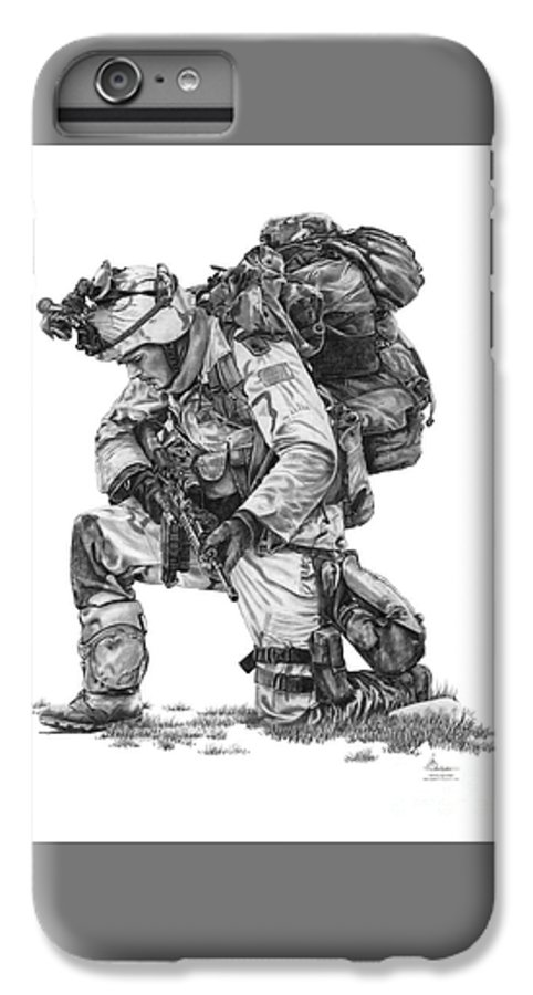 Pencil IPhone 6s Plus Case featuring the drawing Praying Soldier by Murphy Elliott