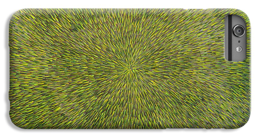 Abstract IPhone 6s Plus Case featuring the painting Radiation With Green With Yellow by Dean Triolo