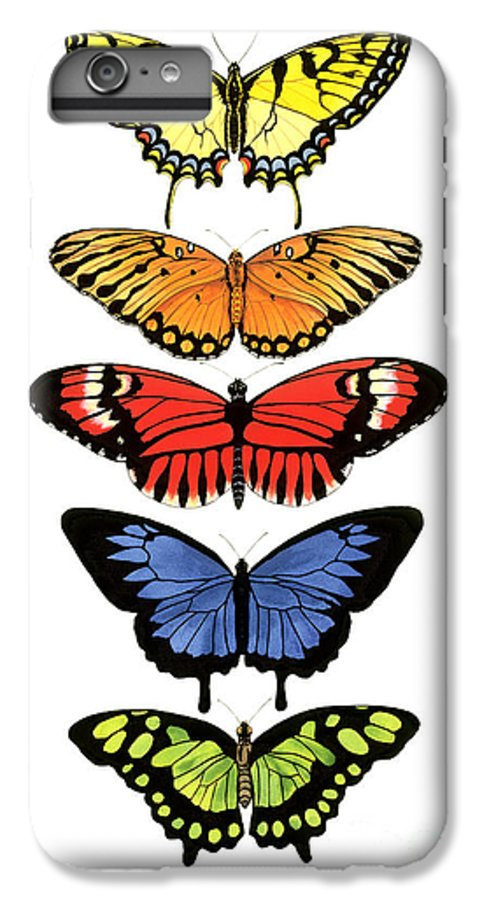 Butterflies IPhone 6s Plus Case featuring the painting Rainbow Butterflies by Lucy Arnold