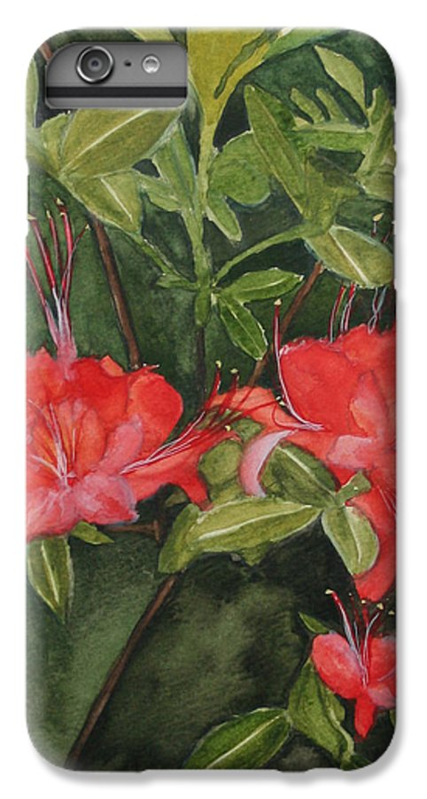 Flowers IPhone 6s Plus Case featuring the painting Red Blooms On The Parkway by Jean Blackmer