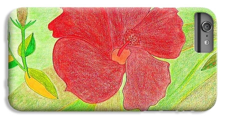 Red Flower IPhone 6s Plus Case featuring the drawing Red Passion by Michael Puya