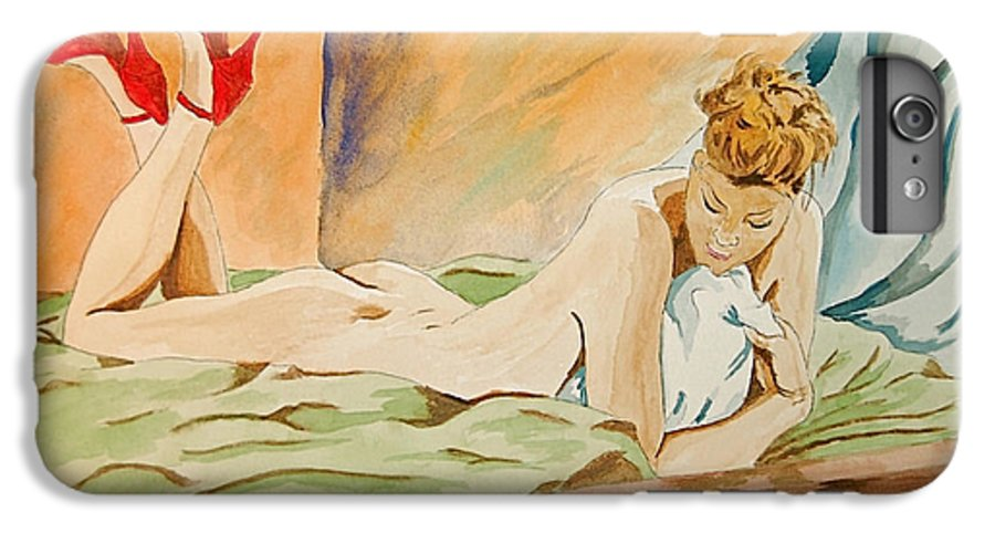 Nude IPhone 6s Plus Case featuring the painting Red Shoes by Herschel Fall