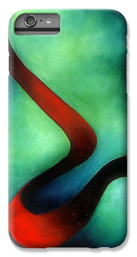 Red IPhone 6s Plus Case featuring the painting Ribbon Of Time by Elizabeth Lisy Figueroa