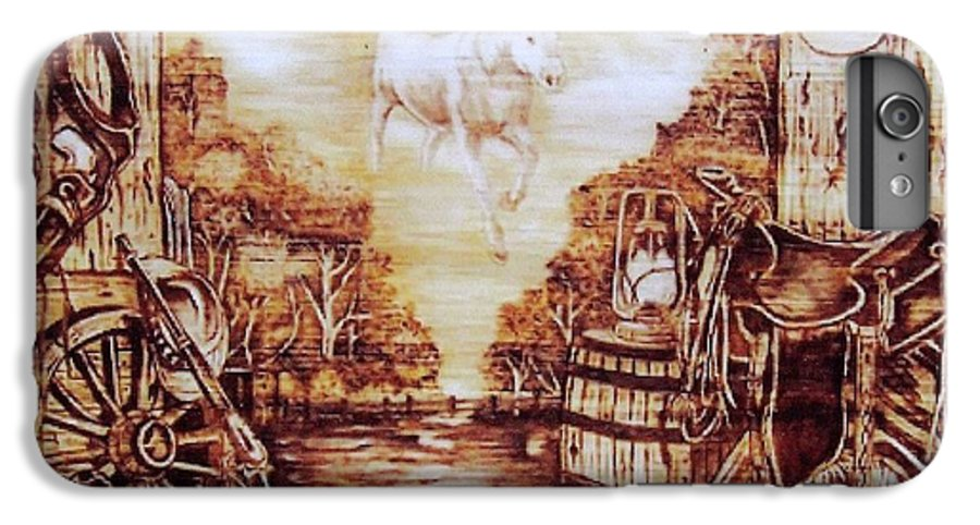 Western IPhone 6s Plus Case featuring the pyrography Riders In The Sky by Danette Smith