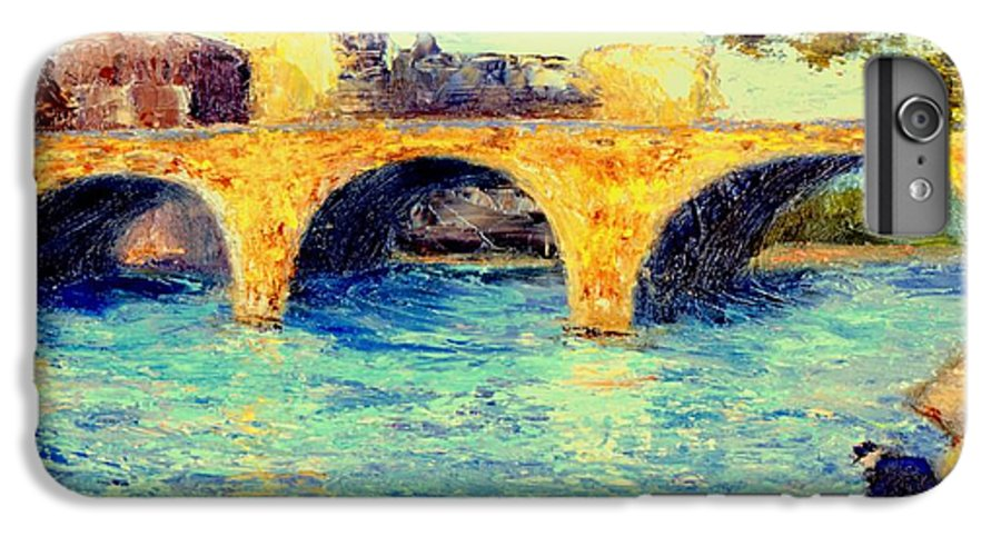 Impressionism IPhone 6s Plus Case featuring the painting River Seine Bridge by Gail Kirtz