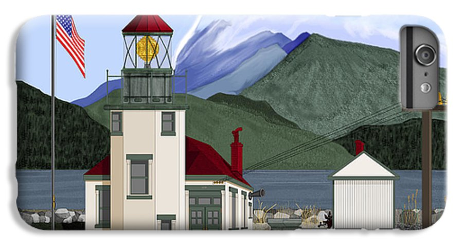Point Robinson Lighthouse IPhone 6s Plus Case featuring the painting Robinson Point With Mount Rainier by Anne Norskog