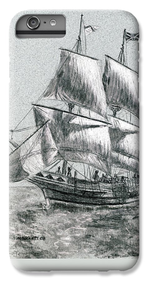 Seascape IPhone 6s Plus Case featuring the drawing Sailing by Michael Beckett