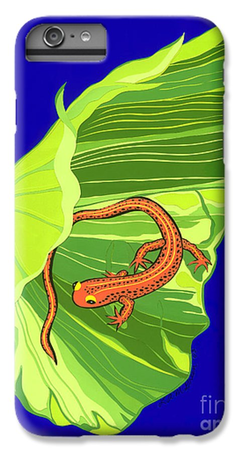 Nature IPhone 6s Plus Case featuring the drawing Salamander by Lucyna A M Green