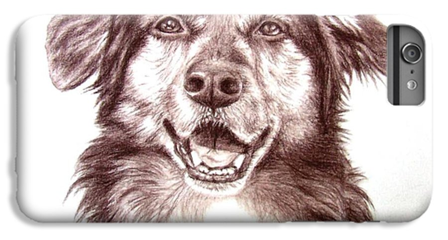 Dog IPhone 6s Plus Case featuring the drawing Sam by Nicole Zeug