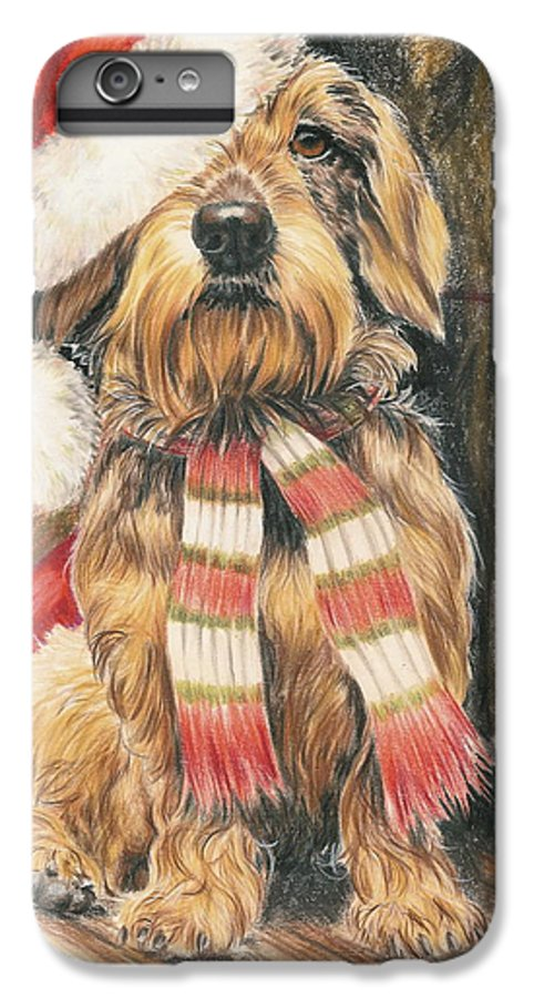 Dogs IPhone 6s Plus Case featuring the drawing Santas Little Yelper by Barbara Keith