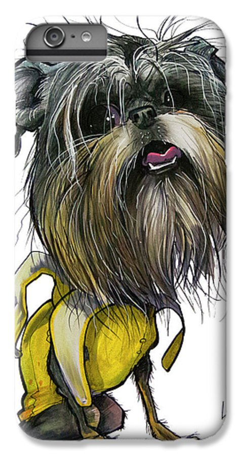 Brussels Griffon IPhone 6s Plus Case featuring the drawing Sao The Banana Man by John LaFree