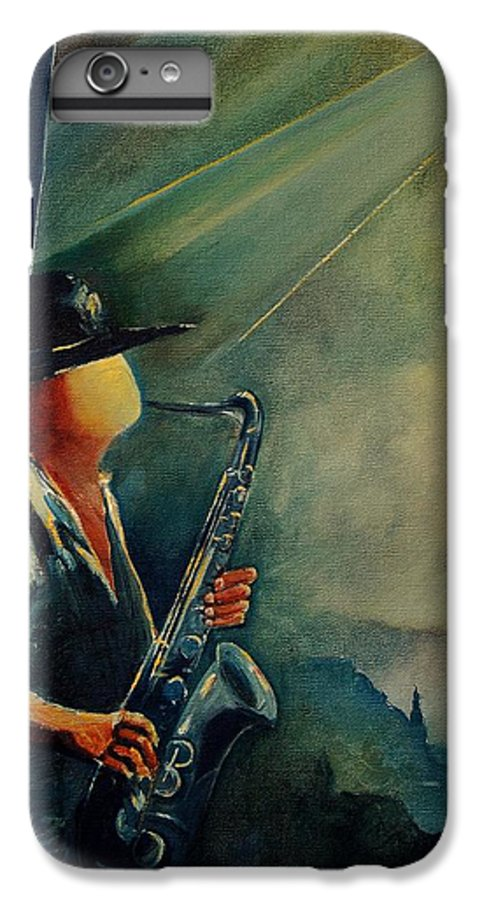 Music IPhone 6s Plus Case featuring the painting Sax Player by Pol Ledent