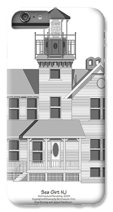 Lighthouse IPhone 6s Plus Case featuring the painting Sea Girt New Jersey Architectural Drawing by Anne Norskog
