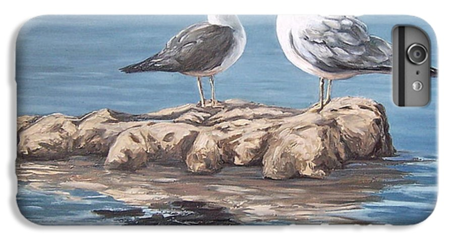 Seagulls Sea Seascape Water Bird IPhone 6s Plus Case featuring the painting Seagulls In The Sea by Natalia Tejera