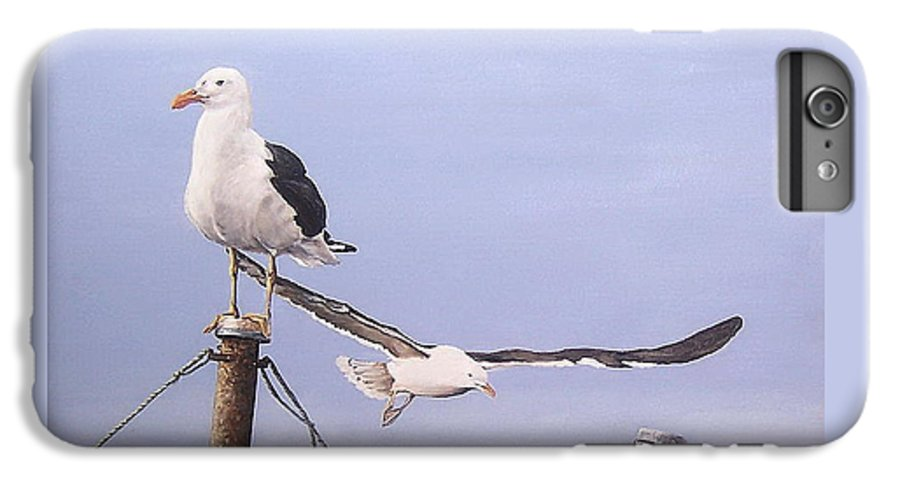 Seascape Gulls Bird Sea IPhone 6s Plus Case featuring the painting Seagulls by Natalia Tejera