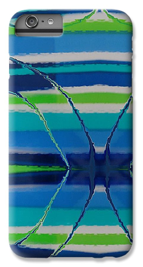 Abstract IPhone 6s Plus Case featuring the painting See Thru Blue by Florene Welebny