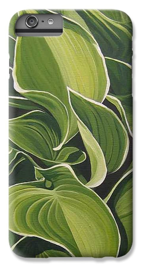 Closeup Of Hosta Plant IPhone 6s Plus Case featuring the painting Shapes That Go Together by Hunter Jay